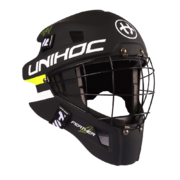Unihoc Feather 44 Goalie Mask, black-neon yellow