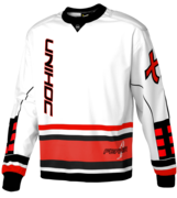 Unihoc Feather Goalie Sweater (White/Neon red)