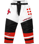 Unihoc Feather Goalie Pants (White/Neon Red)
