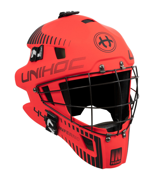 Unihoc Inferno 44 Goalie Mask (Neon Red/Black)
